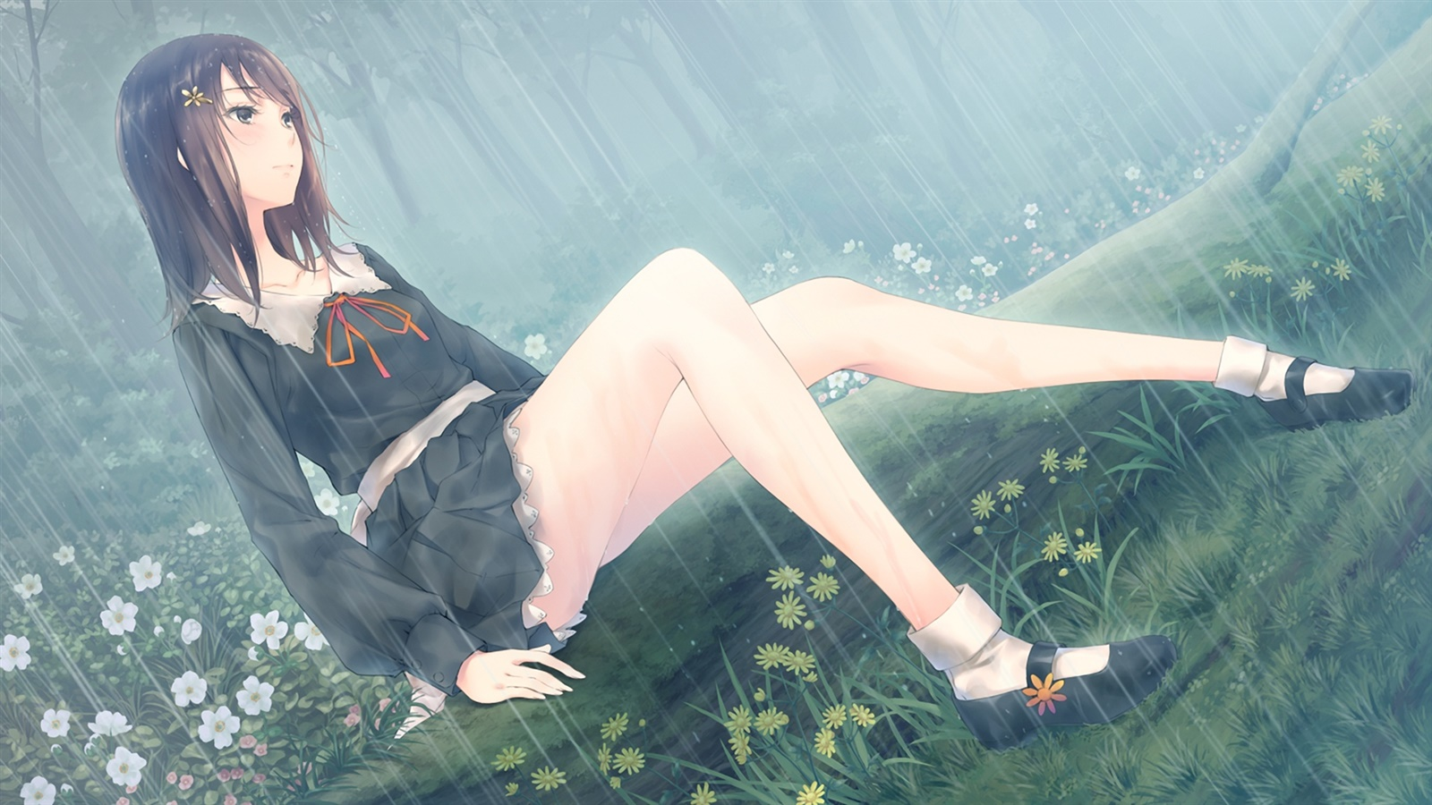 anime rain green wallpaper - photo #19